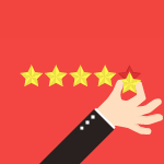 This image shows a hand placing a star next to four other stars, demonstrating the need to find a highly-rated dog daycare software provider.