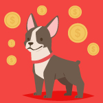 This image shows a dog surrounded by coins, demonstrating the need to find a reasonably-priced, yet effective, dog daycare software option.