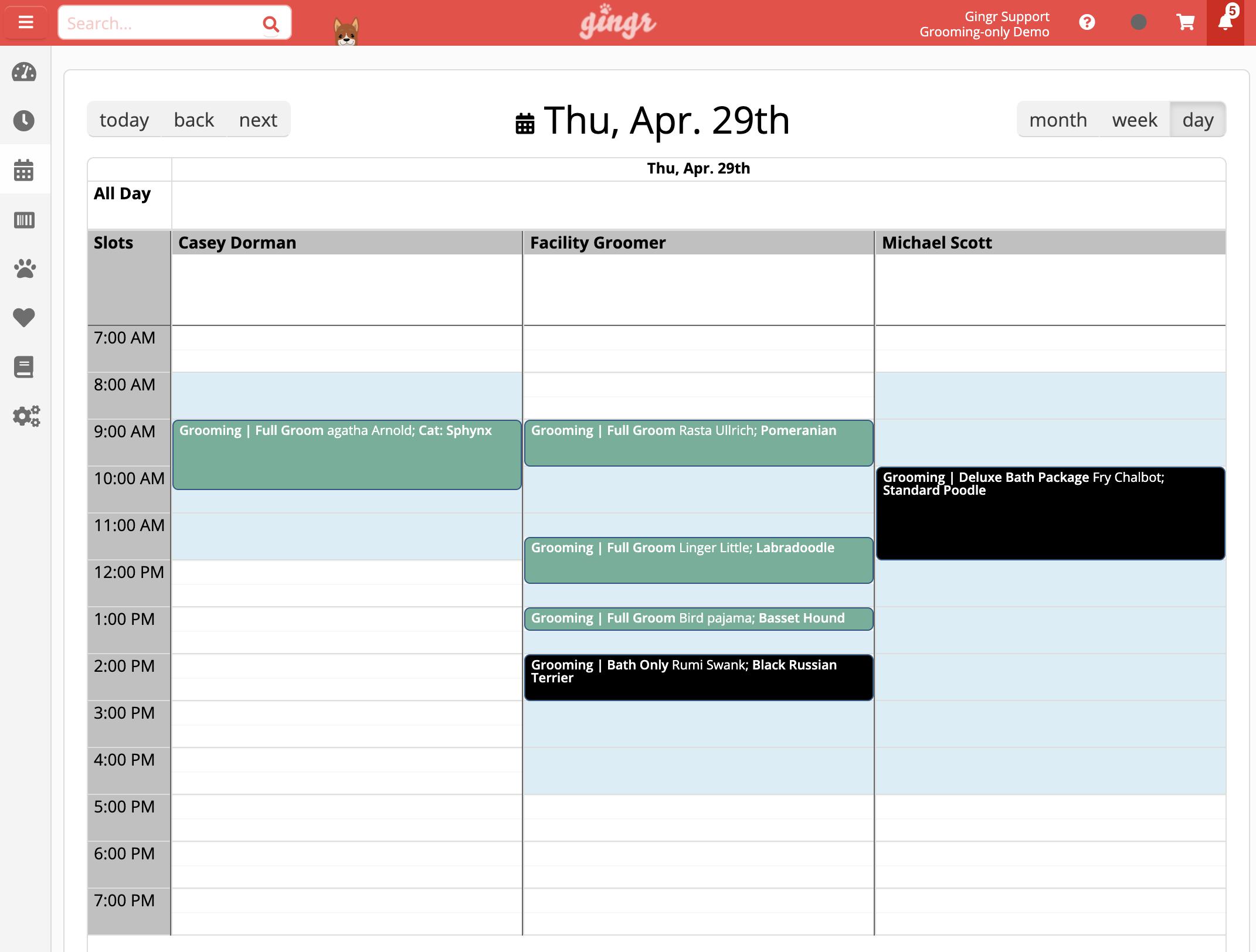 Dog Grooming Calendar Features