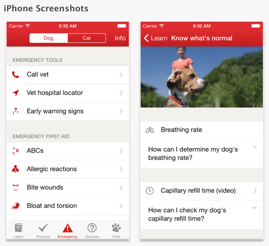 The American Red Cross has a helpful first aid app.
