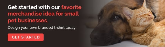 Get started with our favorite merchandise idea for small pet businesses. Design your own branded t-shirt today!