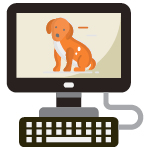 This image shows a dog on a computer screen, demonstrating the importance of researching dog daycare software before investing.